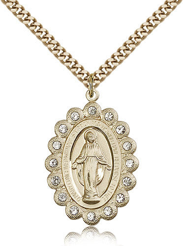 Gold Filled Miraculous Medal with Chain Pendant