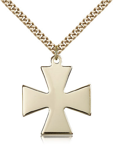 Gold Filled Surfer Cross Medal with Chain Pendant