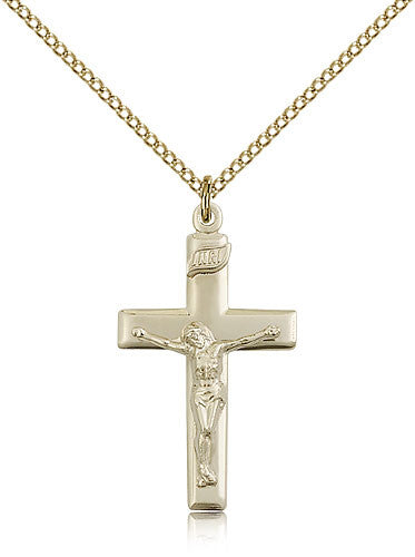 Gold Filled Crucifix Medal with Chain Pendant