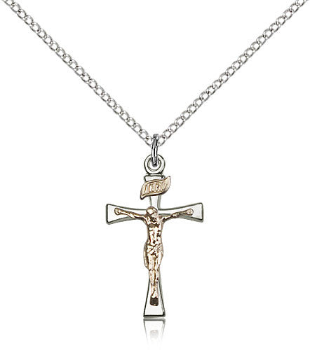 Sterling Silver Two-Tone Maltese Crucifix Medal with Chain Pendant