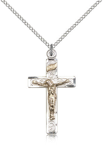 Sterling Silver Two-Tone Crucifix Medal with Chain Pendant