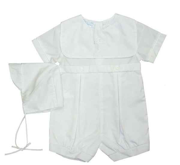 Boys Short Sleeve Christening Romper