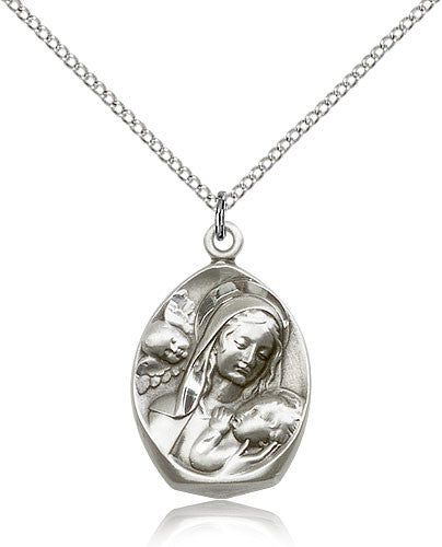 Sterling Silver Madonna and Child Medal with Chain Pendant