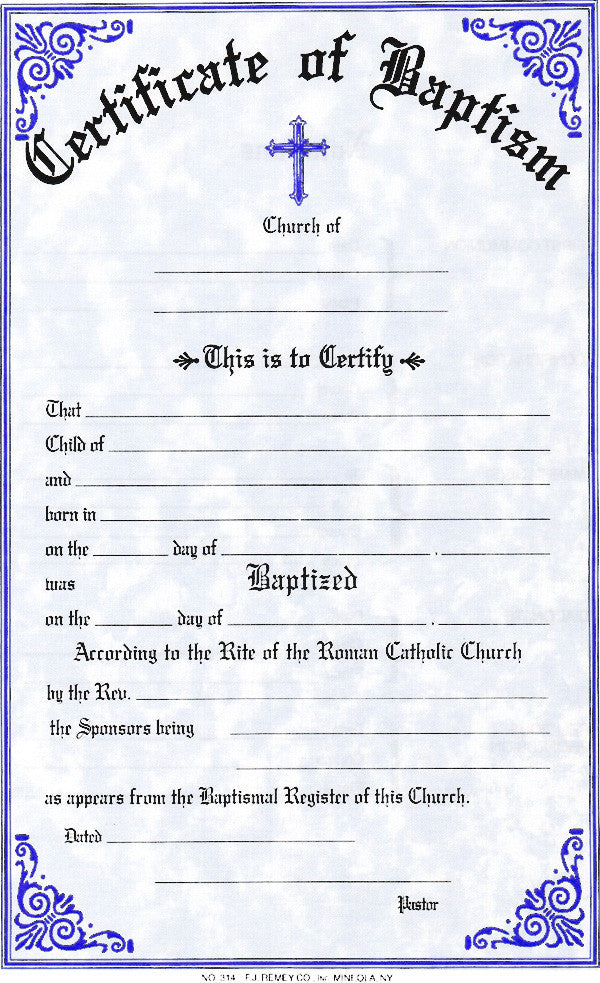 Baptism Certificate – Lagron Miller Company