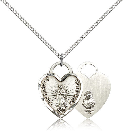 Sterling Silver Our Lady of Guadalupe Heart Medal with Chain Pendant