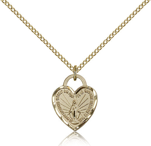 Gold Filled Miraculous Heart Medal with Chain Pendant