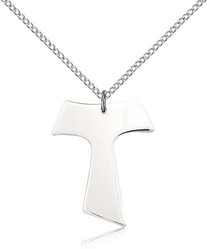 Sterling Silver Tau Cross Medal with Chain Pendant