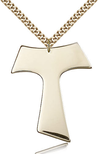Gold Filled Tau Cross Medal with Chain Pendant