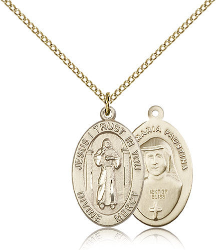 Gold Filled Divine Mercy Medal with Chain Pendant