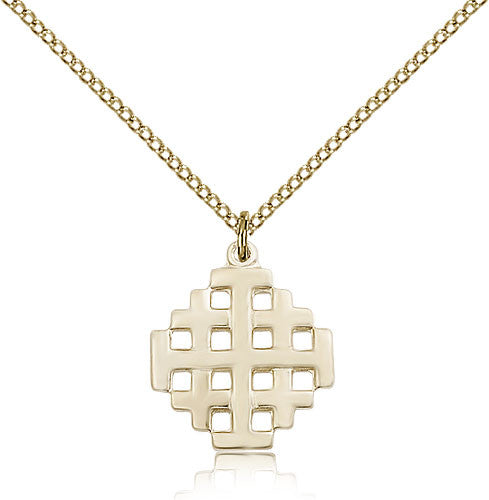 Gold Filled Jerusalem Cross Medal with Chain Pendant