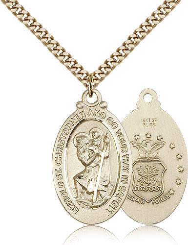 Gold Filled St. Christopher - Air Force Medal with Chain Pendant