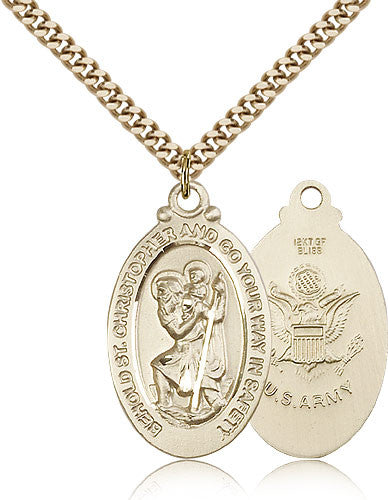 Gold Filled St. Christopher - Army Medal with Chain Pendant