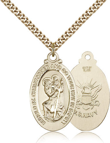 Gold Filled St. Christopher - Navy Medal with Chain Pendant