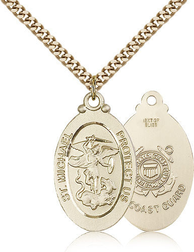 Gold Filled St. Michael - Coast Guard Medal with Chain Pendant