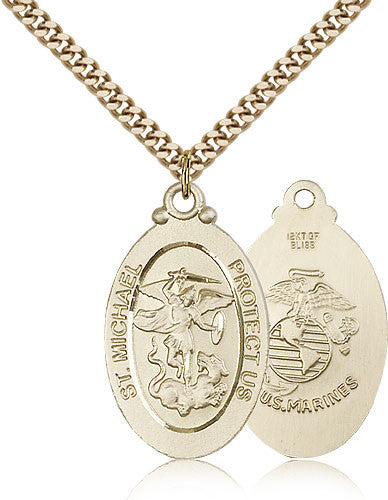 Gold Filled St. Michael - Marines Medal with Chain Pendant