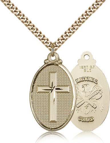 Gold Filled National Guard Cross Medal with Chain Pendant