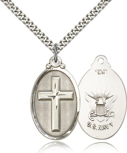 Sterling Silver Cross Navy Medal with Chain Pendant