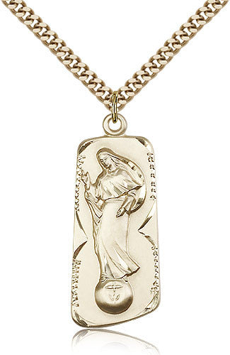 Gold Filled Our Lady of Mental Peace Medal with Chain Pendant