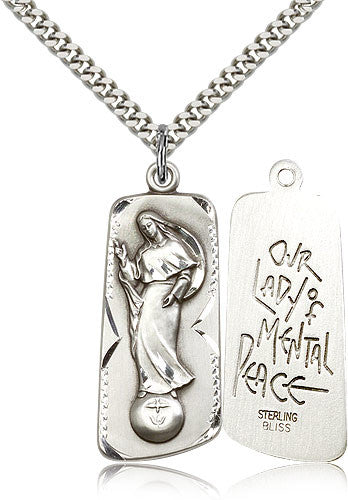 Sterling Silver Our Lady of Mental Peace Medal with Chain