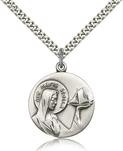 Sterling Silver Our Lady Star of the Sea Medal with Chain Pendant