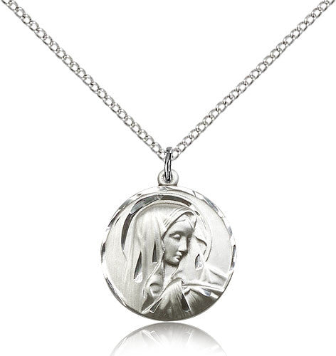 Sterling Silver Sorrowful Mother Pendant Medal with Chain Pendant Large