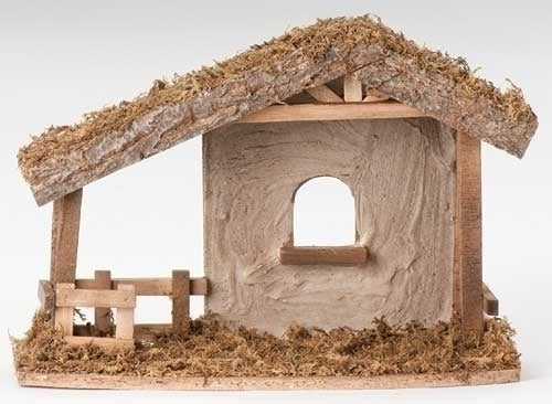 "Italian Wood Stable for 5"" Nativity Figures"