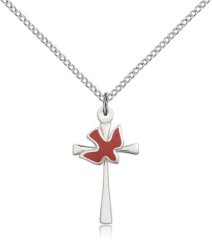 Sterling Silver Holy Spirit Cross Medal with Chain Pendant