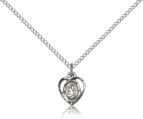 Sterling Silver Our Lady of Perpetual Health Medal with Chain Pendant
