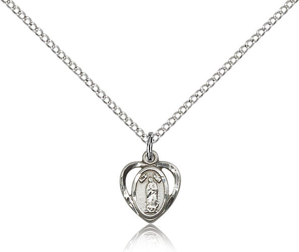Sterling Silver Our Lady of Guadalupe Medal with Chain Pendant