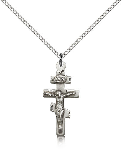 Sterling Silver Crucifix Medal with Chain Pendant