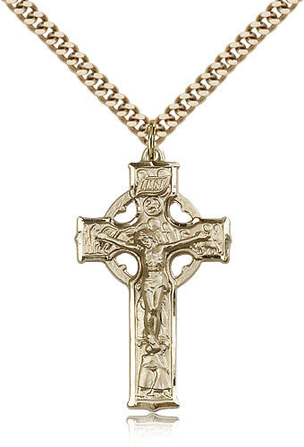 Gold Filled Celtic Crucifix Medal with Chain Pendant