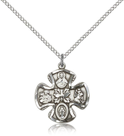 Sterling Silver Five Way Medal with Chain Pendant