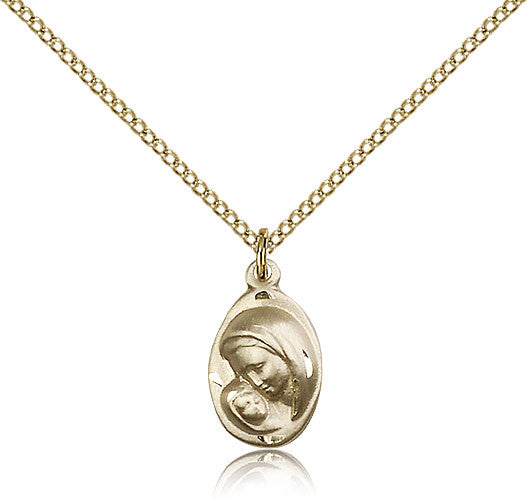 Gold Filled Madonna and Child Medal with Chain Pendant
