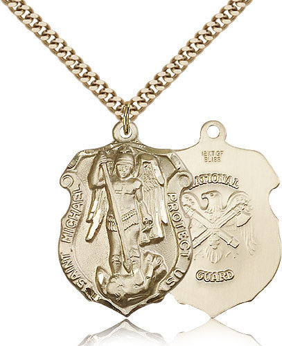 Gold Filled St. Michael - National Guard Medal with Chain Pendant