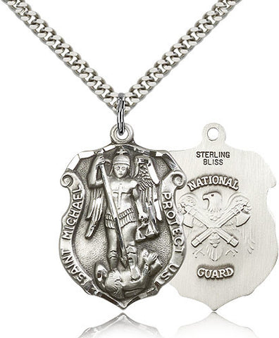 Sterling Silver St. Michael the Archangel National Guard Medal with Chain Pendant