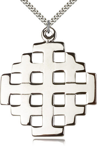 Sterling Silver Jerusalem Cross Medal with Chain Pendant
