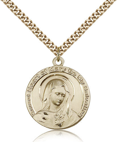 Gold Filled Mary Medal with Chain Pendant