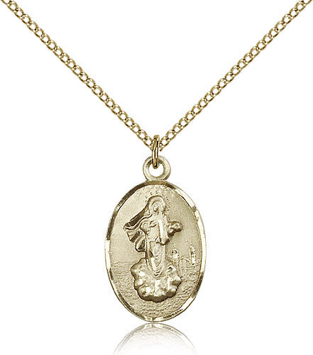 Gold Filled Our Lady of Medugorje Medal with Chain Pendant