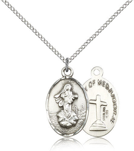 Sterling Silver Our Lady of Medugorje Medal with Chain Pendant Small