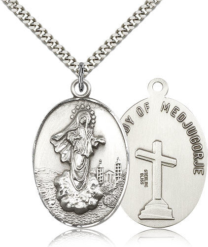 Sterling Silver Our Lady of Medugorje Medal with Chain Pendant Large