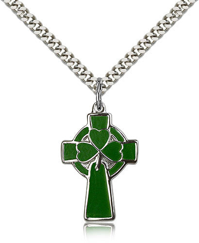 Sterling Silver Celtic Cross Medal with Chain Pendant