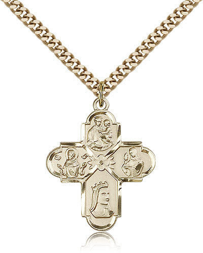 Gold Filled Five Way Franciscan Medal with Chain Pendant