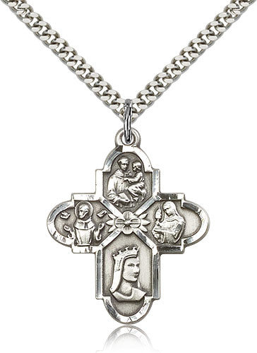 Sterling Silver Four Way Franciscan Medal with Chain Pendant