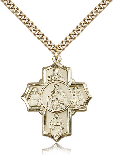 Gold Filled Five Way Mt Carmel Medal with Chain Pendant