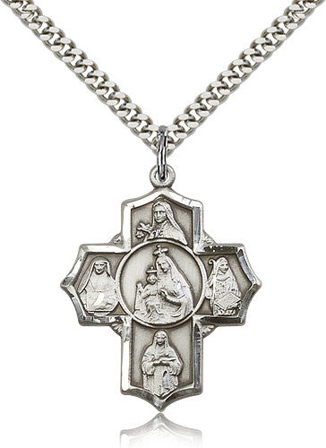 Sterling Silver Four Way Mount Carmel Medal with Chain Pendant