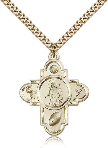 Gold Filled Sports 5-Way - St. Sebastian Medal with Chain Pendant