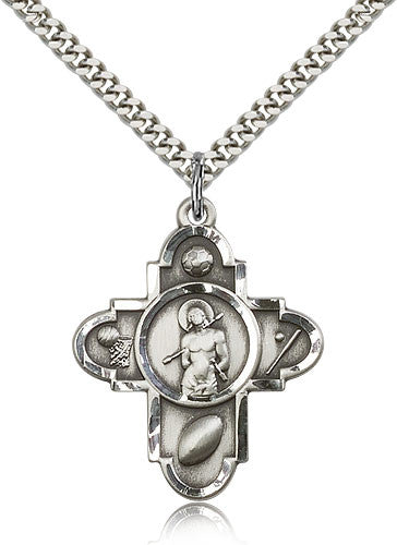 Sterling Silver St. Sebastian 5-Way Sports Medal with Chain Pendant
