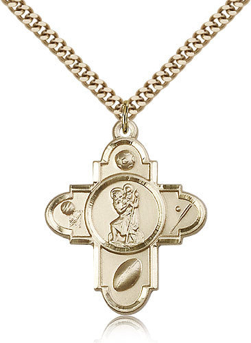 Gold Filled Sports 5-Way - St. Christopher Medal with Chain Pendant