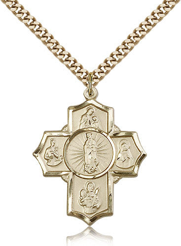 Gold Filled Five Way Motherhood Medal with Chain Pendant