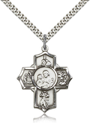 Sterling Silver Five Way Firefighter Medal with Chain Pendant